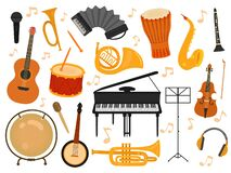 Free Musical Instruments. Sound Toys, Music Instrument For Rhythm Study. Flat Isolated Drum And Flute, Acoustic Guitar And Stock Photography - 177327212