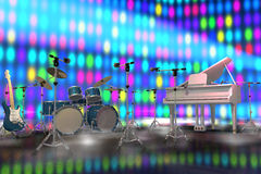 Musical instruments on a stage stock illustration