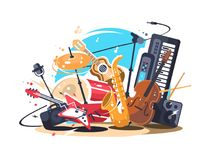 Musical instruments on stage Royalty Free Stock Photos