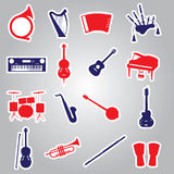 Musical instruments stickers eps10 Royalty Free Stock Photos