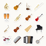 Musical instruments stickers set. Orchestra music band vector illustration Stock Image