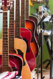 Musical instruments. In store with microphones Royalty Free Stock Image