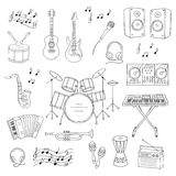 Musical instruments and symbols. Music icon set vector illustrations hand drawn doodle. Musical instruments and symbols guitar, drum set, synthesizer, dj mixer Royalty Free Stock Image