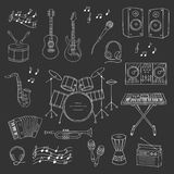 Musical instruments and symbols. Music icon set vector illustrations hand drawn doodle. Musical instruments and symbols guitar, drum set, synthesizer, dj mixer Royalty Free Stock Photos