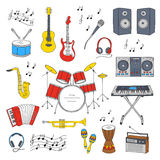 Musical instruments and symbols. Music icon set vector illustrations hand drawn doodle. Musical instruments and symbols guitar, drum set, synthesizer, dj mixer Stock Photography