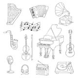 Musical instruments and symbols Stock Image