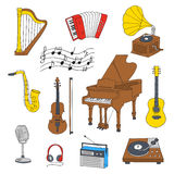 Musical instruments and symbols Royalty Free Stock Images
