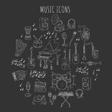 Musical instruments and symbols. Music icon set vector illustrations hand drawn doodle. Musical instruments and symbols piano, guitar, synthesizer, drum set Stock Image