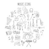 Musical instruments and symbols. Royalty Free Stock Image