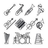 Musical instruments thin line icons Stock Photography