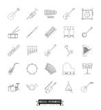 Musical Instruments Thin Line Icons Set Royalty Free Stock Photos