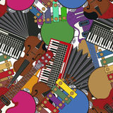 Musical instruments tile Royalty Free Stock Photos