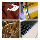Musical instruments. Various close up of musical instruments on a collage Royalty Free Stock Photos
