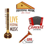 Musical instruments vector icons for music concert Stock Photography