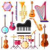 Musical instruments vector illustration. Colorful isolated icons and design elements set.  royalty free illustration