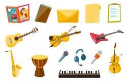 Musical instruments vector illustrations set. Stock Photo