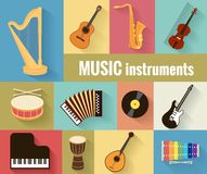 Musical instruments vector set Royalty Free Stock Photo