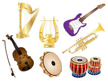 Musical Instruments Vector Set. Vector Illustration Clip art Set of Musical Instruments with Harp, Hand Harp, Electric Guitar, Violin, Tambourine, Tabla Drums Stock Image