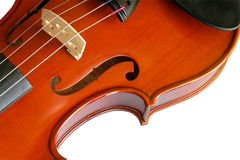 Musical instruments: violin. Closeup showing the bridge (11) with clipping path Royalty Free Stock Photography