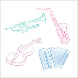 Musical instruments. On a white background Stock Photography