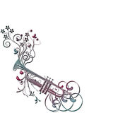 Musical instument trumpet, flowers. There is a musical instrument trumpet, flowers and leaves, frame Royalty Free Stock Photos