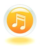 Musical internet button. Internet glowing music note button Royalty Free Stock Images