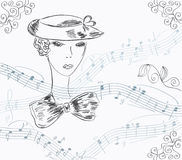 Musical invitation card with lady Stock Photography