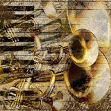 Musical jazz background. Abstract musical background trumpet and piano Stock Photos
