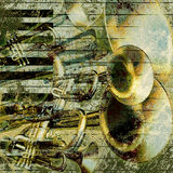 Musical jazz background green. Abstract musical background trumpet and piano Stock Photos