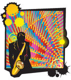 Musical jazz party with saxophonist. 's silhouette in foreground, vector illustration Royalty Free Stock Image
