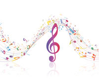Musical Key with notes row Stock Photos