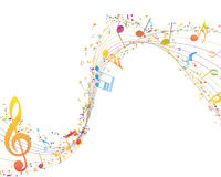Musical Key with notes row Royalty Free Stock Images
