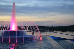 Musical,lighted fountain. Stock Photography