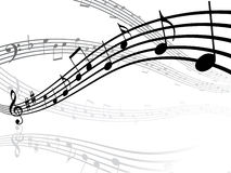 Musical lines with notes Stock Image
