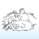 Musical man with pig. A hand drawn illustration of a man and a pig enjoying music royalty free illustration