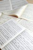 Musical manuscripts stock image
