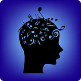 Musical mind. Musical notes spilling out from the brain. Musical notes are fonts from free database Royalty Free Stock Images