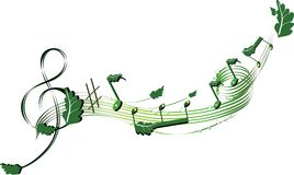 Musical nature stave. With green leaves Royalty Free Stock Image