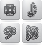 Musical notation. Music notation represents music through the use of written symbols. Pictured here left to right, top to bottom Stock Image