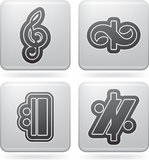 Musical notation. Music notation represents music through the use of written symbols. Pictured here left to right, top to bottom Royalty Free Stock Photo