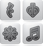 Musical notation. Music notation represents music through the use of written symbols. Pictured here left to right, top to bottom Royalty Free Stock Photos