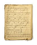 Musical Note. The studio photo of old handwritten misicial notes on white background. Retro Stock Image