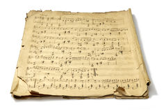 Musical Note. The studio photo of old handwritten misicial notes on white background. Retro Stock Photography