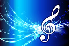 Musical Note on Abstract Light Background Stock Photo