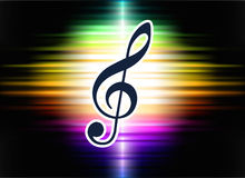 Musical Note on Abstract Spectrum Background Stock Photo