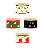 Musical note and apple ribbon spools. Four spools of ribbon with apple and musical note designs vector illustration