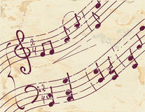 Musical note background on the paper. Texture Stock Photo