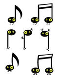 Musical note characters. With green eyes isolated on white Stock Photography