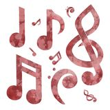 Red Watercolor Musical Note Collection Royalty Free Stock Photos