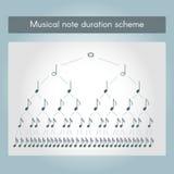 Musical note duration scheme Stock Photo